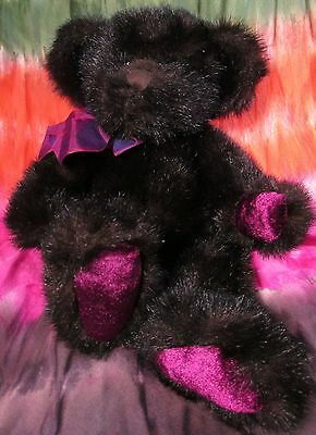 "WILSON Teddy Bear by Russ Made Exclusively for Bombay 15"" Plush Brown & Magenta"