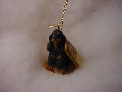 COCKER SPANIEL dog ANGEL Ornament Figurine NEW Christmas black tan brown puppy