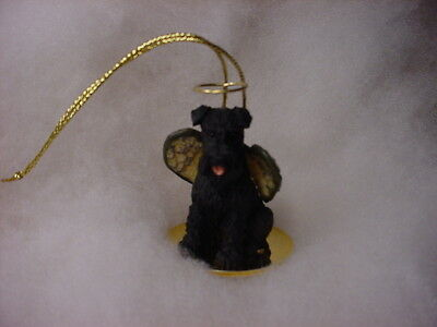 SCHNAUZER black dog ANGEL Ornament Figurine Statue NEW Christmas UNCROPPED puppy