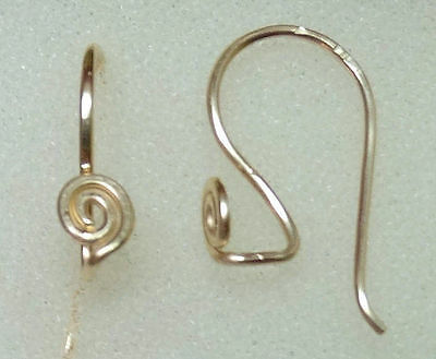Small Hammered INTERCHANGEABLE Earring Wires with a Spiral STERLING, ROSE or YG