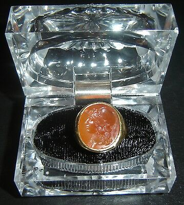 Ancient Roman Soldier Profile Carnelian Agate Intaglio Mounted on 18k Gold Ring • CAD $4,268.85