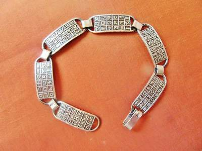 Amazing Antique Vintage Egyptian Silver Bracelet Ancient Hieroglyphics...STAMPED