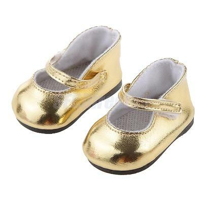 """Handmade Summer Shoes for 18"""" American Girl Doll Clothes Accessory Gold"""