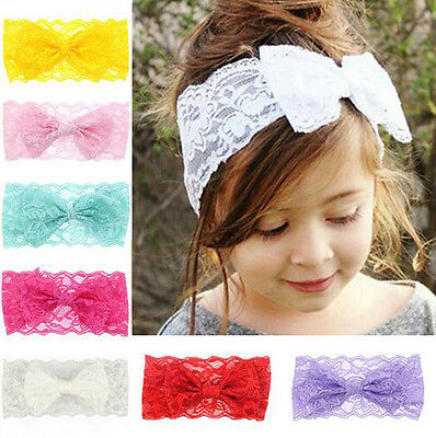 7PCS Baby Kids Girls Toddler Lace Bow Hairband Stretch Knot Head Band Headband