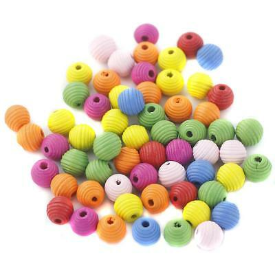 100pcs Assorted Color Round Wooden Stripy Beads for Gift Kids Work Making