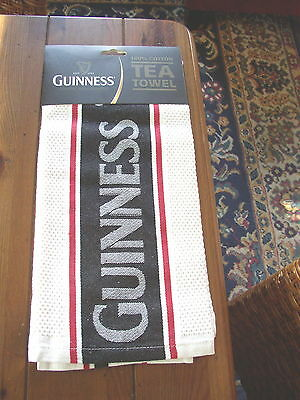 Guinness Waffle Tea Towel With Red Stripes