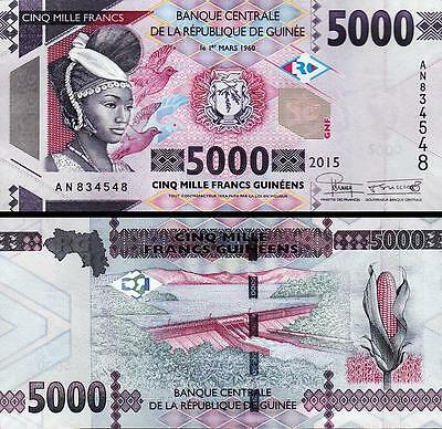 Guinea 5000 5,000 Francs 2015 Uncirculated P.new