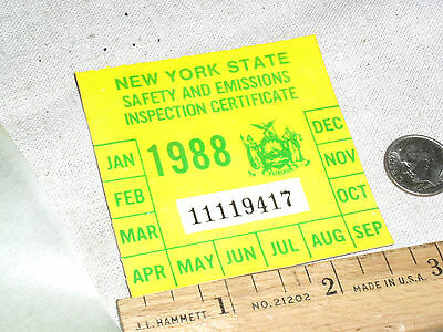 1 Vintage Nos 1988 Ny N.y.s New York State Car Auto Safety Inspection Sticker