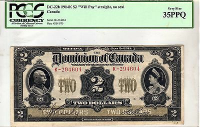 "DC-22b $2 1914K Dominion of Canada ""Will Pay"" Straight  No Seal PCGS 35 PPQ RARE"