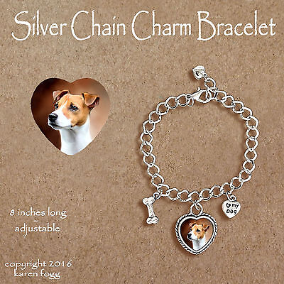 JACK RUSSELL TERRIER DOG Smooth Fawn - CHARM BRACELET SILVER CHAIN & HEART