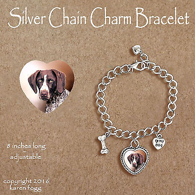 German Shorthair Pointer Dog - Charm Bracelet Silver Chain & Heart