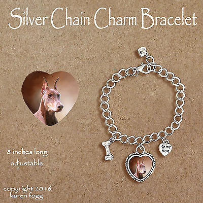 DOBERMAN PINSCHER DOG Red Crop Ears Dobie - CHARM BRACELET SILVER CHAIN & HEART