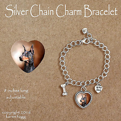 DOBERMAN PINSCHER Black Crop Ear Dobie - CHARM BRACELET SILVER CHAIN & HEART