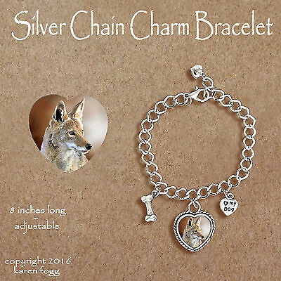 Coyote - Charm Bracelet Silver Chain & Heart