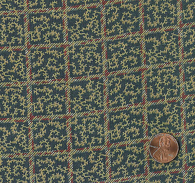 Antique 1900 Checks & Coral Vines Fabric
