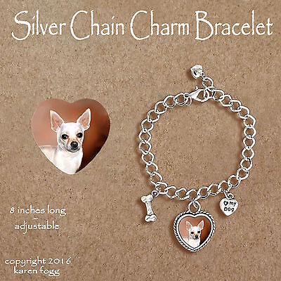 CHIHUAHUA DOG Smooth White - CHARM BRACELET SILVER CHAIN & HEART