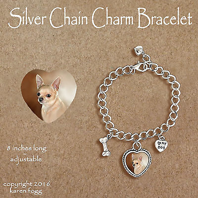 CHIHUAHUA DOG Smooth Fawn Adult - CHARM BRACELET SILVER CHAIN & HEART