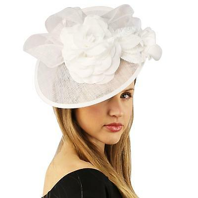 Fancy Sinamay Derby Floral Ribbon Headband Fascinator Millinery Church White