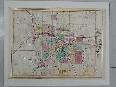 Wisconsin Antique Map 1873 Original Hand Color City of Janesville