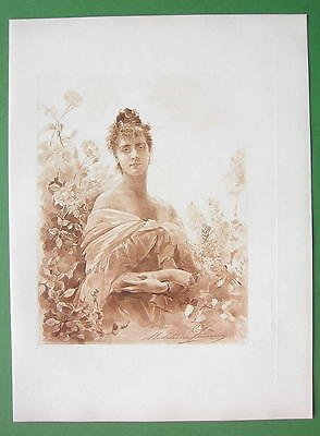 YOUNG MAIDEN Not in Love - Victorian Era Antique Print