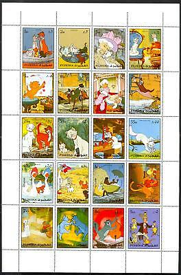 Fujeira Aristocats Rare Mint Sheet Of 20 Stamps