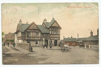 POSTCARD-SCOTLAND-LARBERT-PTD. The Station Hotel and Railway Station.