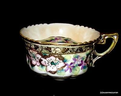 "Antique 4""+ Nippon Heavy Gold Luster Lusterware Mustache Cup with Apple Blossoms"