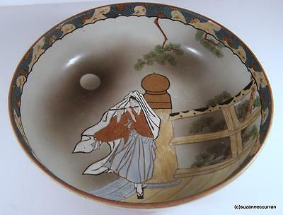 Old Japanese Hand Painted Large Bowl with Geisha Playing a Nohkan Flute