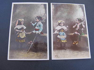 2 Children in Costumes old Postcards
