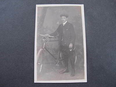 Cyclist Bicycle Real Photo Postcard shows Horn & Light