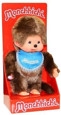 "MONCHHICHI BOY Original Sekiguchi 7.5"" BLUE Bib Monchichi plush monkey Doll toy"