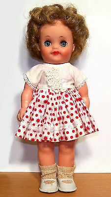 """Rare Unmarked 11"""" Vinyl Fluffy-Type Doll in Mollye Tagged Dress - VGC"""