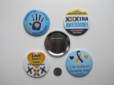 """12 Large DOWN SYNDROME AWARENESS PINS 3"""" FREE SH button pin pins party favors"""