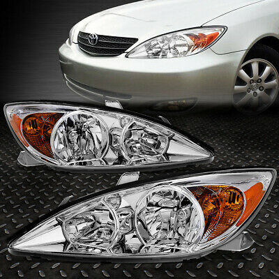 For 2002-2004 Toyota Camry Pair Chrome Housing Amber Corner Headlight/lamp Set