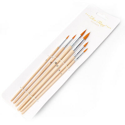 6 Pcs Nylon Hair Brush Artist Round Point Tip Watercolor Painting Gouache Set