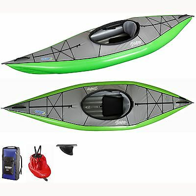 NEW Gumotex Swing 1 Inflatable Kayak + Fin, Dry Bag, and Spray Skirt - Green