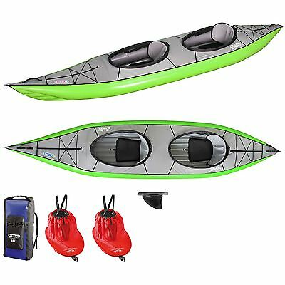 NEW Gumotex Swing 2 Inflatable Kayak + Fin, Rucksack, Spray Skirt - Green