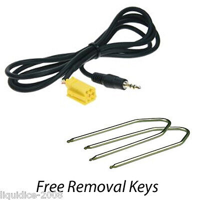 Fiat Qubo 2009 Onwards Aux In Auxiliary 3.5 Jack Cable Ipod Iphone Mp3 Htc