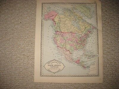 Superb Antique 1885 North America Handcolored Map United States Texas Canada Nr