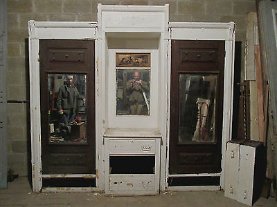 ~ANTIQUE CARVED WALNUT BUILT IN CLOSET FRONT WARDROBE ARMOIRE 105 x 99 SALVAGE ~