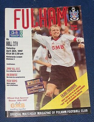 Fulham Home Programmes 1996-1997