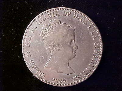 Isabel Ii 20 Reales 1849 Madrid Vf, Rare Type Coin