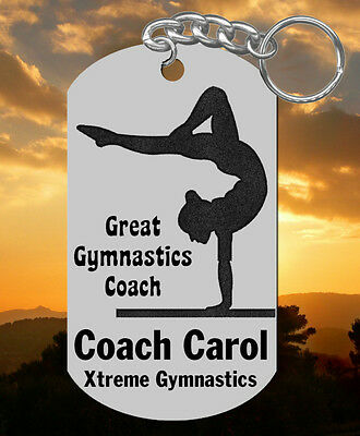 New Design! GYMNASTICS Coach Keychain Gift, Personalized with their NAME
