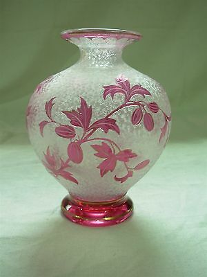 "Rare Signed St Saint Louis Cranberry Pink Cameo Art Glass 5.5"" Vase With Berries"