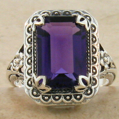 Antique Style Lab Amethyst 925 Sterling Silver Ring Size 5,                 #607