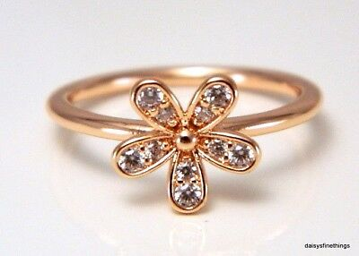 New! Authentic Pandora Ring Rose Collection Dazzling Daisy #180932Cz Hinged Box
