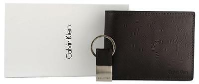 New Calvin Klein Ck Men's Leather Wallet Bifold Id Key Fob Set Brown 79515