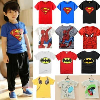 Toddler Baby Kids Boys T-Shirt Tops Spiderman Batman Cos Outfits Clothes Child