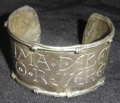 Ancient Roman Silver Bracelet Quote From Juvenal In Latin Attributed to 1st Cent