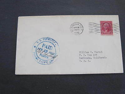 S.S. Pennsylvania Ship Panama Shipping Line Cover Postmarked 1932 Signed Purser